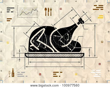 Christmas whole turkey symbol as technical blueprint drawing poster christmas whole turkey symbol as technical blueprint drawing poster malvernweather Image collections
