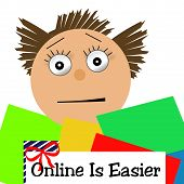 picture of frazzled  - frazzled shopper loaded with colorful packages illustration - JPG