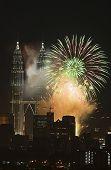 stock photo of petronas twin towers  - fireworks at petronas twin towers kuala lumpur malaysia - JPG