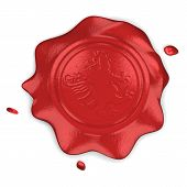 picture of wax seal  - Wax seal with lion in field on white backgroun - JPG