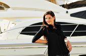 Happy Beautiful Woman In Yacht Club