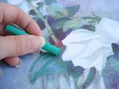 Hand Drawing A Rose With Green Crayon