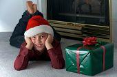 Eight Year Old Boy In Santa Hat