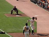 Matt Cain Steps Forward To Throw Pitch In The Bullpen
