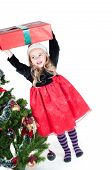 pic of splayed  - Beautiful baby girl dressed up for Christmas isolated in white - JPG