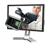Camarógrafo en un Monitor de la computadora