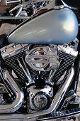 Beautiful Chrome Engine Of Custom Chopper Motorbike