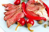 Roast Meat Slices On Plate