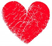 stock photo of broken heart  - Red vector grunge broken heart and white background - JPG