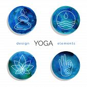 Set of linear yoga icons in blue colors. poster