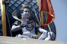 foto of shiva  - Statue of Blessing Shiva at Bada Ganapati Temple in Indore Madhya Pradesh India Asia - JPG