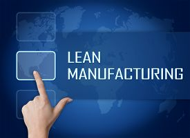 pic of waste reduction  - Lean Manufacturing concept with interface and world map on blue background - JPG