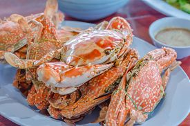 stock photo of cooked crab  - steamed flower crab or blue crab blue manna crab sand crab - JPG