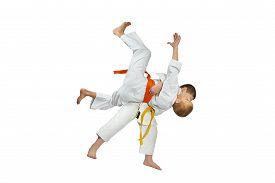 stock photo of judo  - High throws judo are training athletes in judogi - JPG