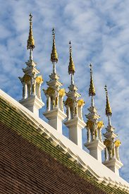 stock photo of gable-roof  - Gable Apex On Roof In Thai Temple , art ** Note: Soft Focus at 100%, best at smaller sizes - JPG