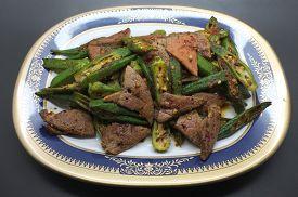 picture of okras  - Stir fried pork liver with okra - JPG