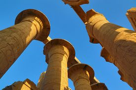 stock photo of hieroglyphic  - Top of columns in Karnak temple with ancient egypt hieroglyphics