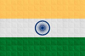 stock photo of indian flag  - flag of India or Indian banner on check pattern background - JPG