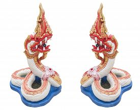 picture of serpent  - Serpent statue on the stairs in the temple on isolated background - JPG