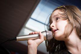 picture of karaoke  - Little cute girl singing karaoke on microphone at home - JPG