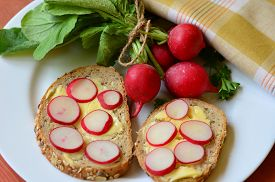 foto of radish  - Slices of radish on cereal bread and bunch of radishes - JPG