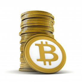 stock photo of bit coin  - 3d render of abstract bitcoin coins over white background - JPG