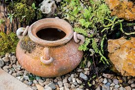 image of pottery  - Mini garden decoration by pottery jar pottery pitcher - JPG