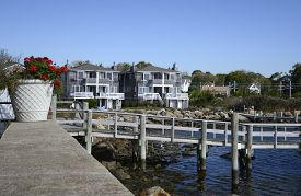 stock photo of inlet  - wood dock by an inlet in Stonington Connecticut - JPG