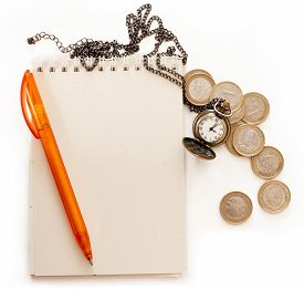 picture of spanish money  - A spiral notebook with a place for text - JPG