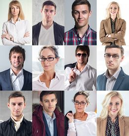 stock photo of avatar  - Collection of different many happy smiling young people faces caucasian women and men - JPG