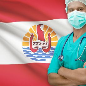 stock photo of french polynesia  - Surgeon with flag on background  - JPG