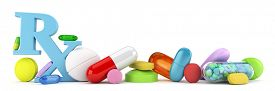 image of prophylactic  - Variety of colorful prescription drugs - JPG
