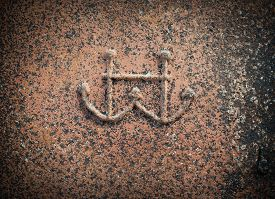 picture of anchor  - Old rusty metal background texture with anchors - JPG