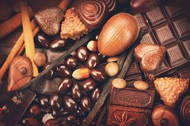 picture of bonbon  - Luxury chocolate background close up - JPG