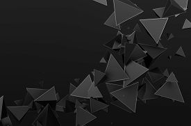foto of pyramid shape  - Abstract 3d rendering of chaotic particles - JPG