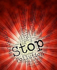 stock photo of polluted  - Stop Pollution Showing Air Polution And Soiling - JPG