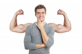 foto of superimpose  - happy young man with superimposed muscular arms - JPG