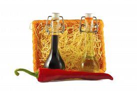 pic of red hot chilli peppers  - Two bottles of wine vinegar - JPG