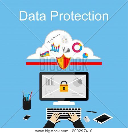 poster of Data protection illustration. Flat design illustration concepts for data security, internet security, secure internet access, secure online storage