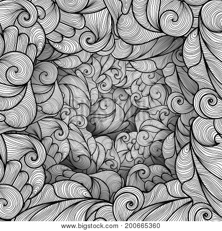 poster of Abstract pattern with waves and lines. Texture with volumetric doodle elements. Paper art background in doodle style. Vector 3d illustration. Abstract ornate art