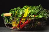 Rainbow Chard, Colorful Eating And Healthy Diets. Dark Backgroun poster