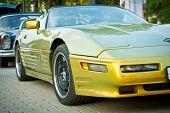 Green Modern Corvette on exhibition parking
