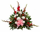 foto of condolence  - Colorful flower arrangement in basket isolated on white - JPG