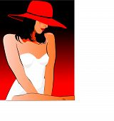 Woman With Ared Hat Red Background