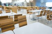 Interior Of White Table And Wooden Table On Food Court In Shopping Mall. poster