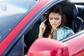 Stressed Woman Talk On Phone Inside Car poster