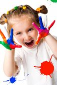 picture of finger-painting  - smiling girl with the palms painted by a paint - JPG