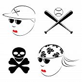 stock photo of baseball bat  - The drawn heads of the baseball player and the biker on a white background - JPG