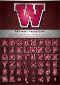 Pink Alphabet with Silver Stroke