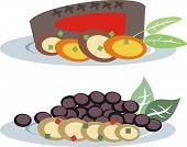 Plated steak dinner and vegan or vegetarian meal